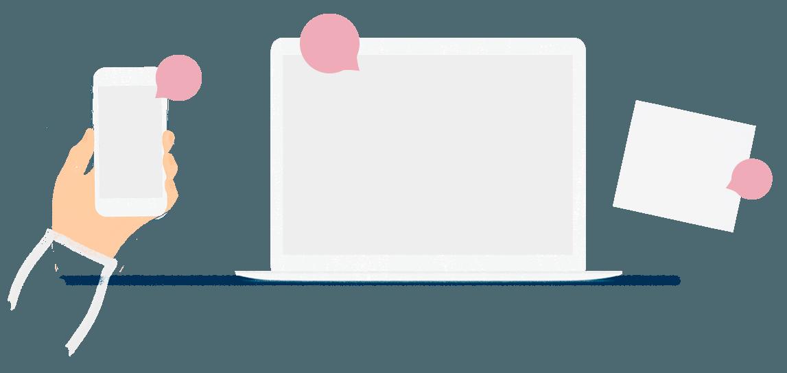 Ilustración de dispositivos para representar la web de La Bonita
