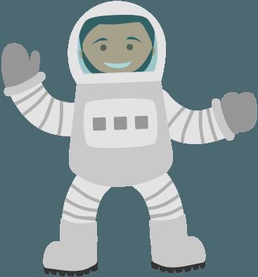 Ilustración astronauta trayectoria de ACTEC