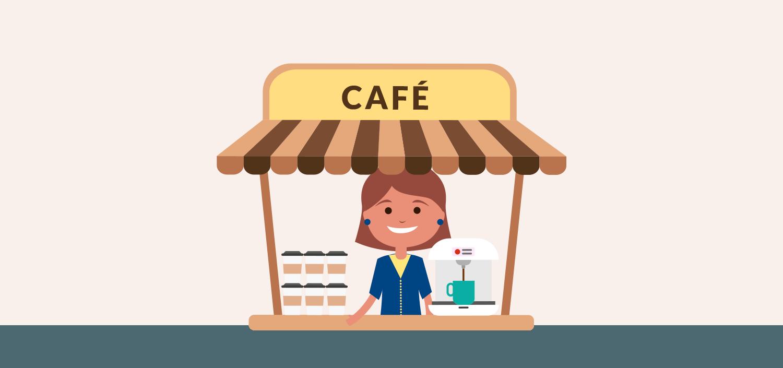 Ilustración de una chica en un puesto de café por el trabajo de ACTEC en Europa
