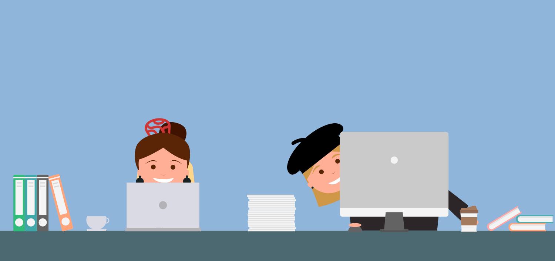 Ilustración de dos chicas trabajando por el trabajo de ACTEC en Europa