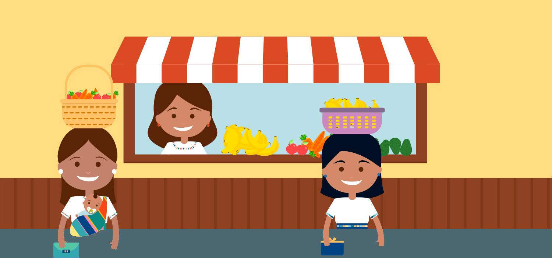 Ilustración de tres chicas en un puesto de fruta por el trabajo ACTEC en Guatemala