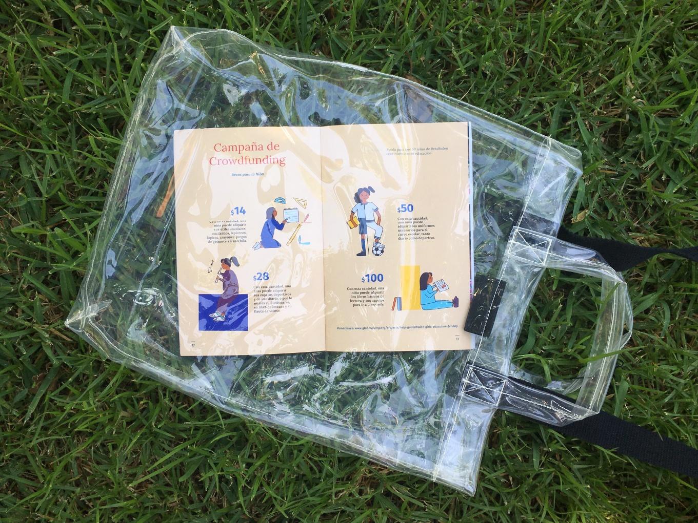 Bolsa de plástico transparente para la campaña de crowdfunding de FUNDAP