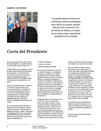 Diseño de la Carta del Presidente de FUNDAP