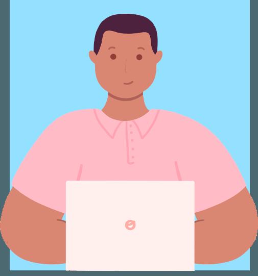 Ilustración de servicio de proyecto empresarial ofrecido por Calmo con fondo