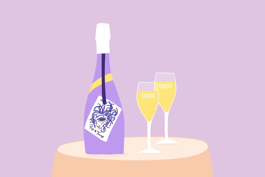 Ilustración creada para la bodega Pago de Tharsys con una botella y vaso de de cava