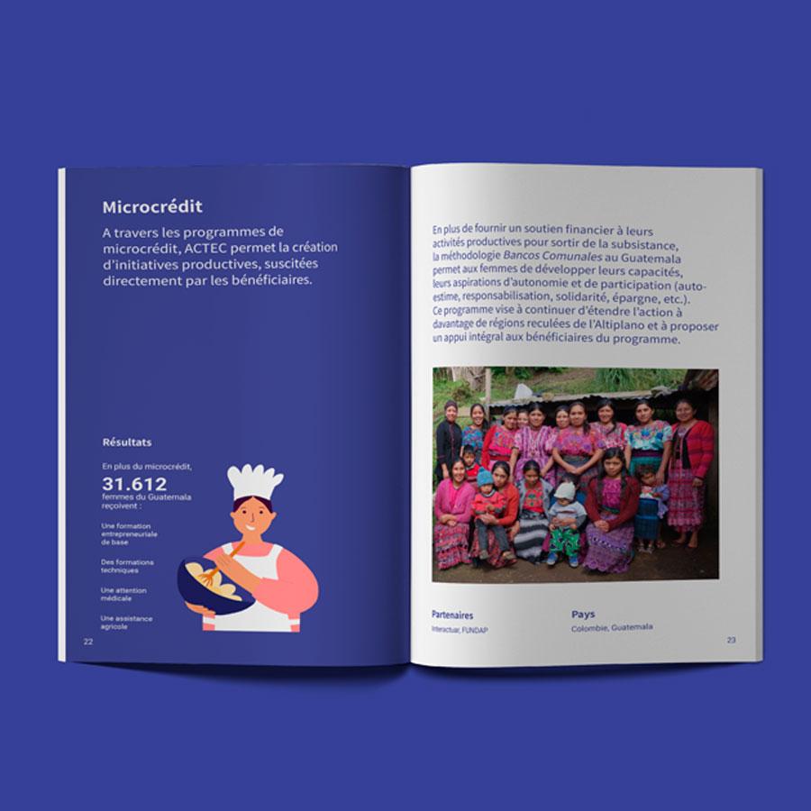 Diseño editorial páginas de una Memoria de Actividades con infografía