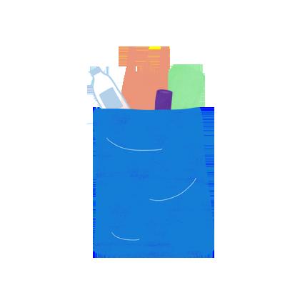 Ilustración de bolsa reciclable con comida