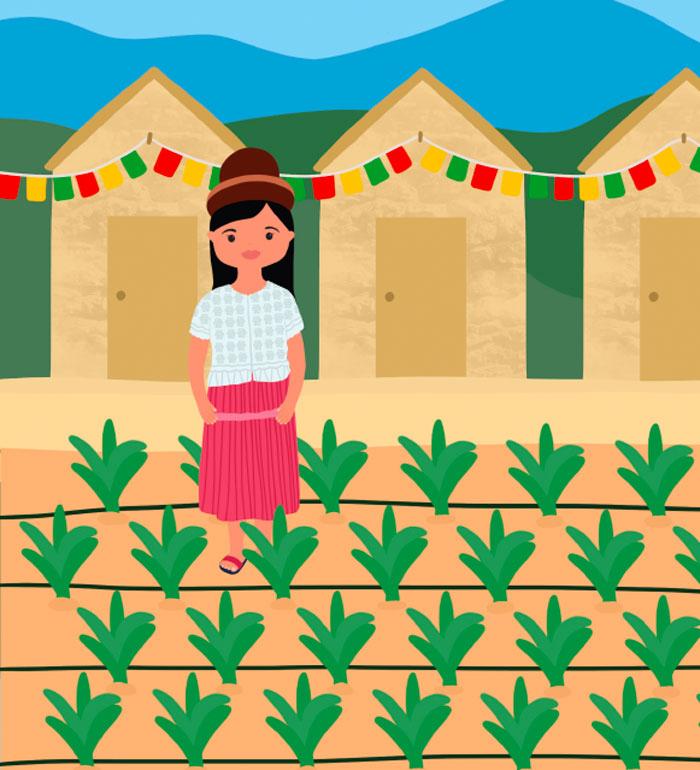 Ilustración Nina en un huerto
