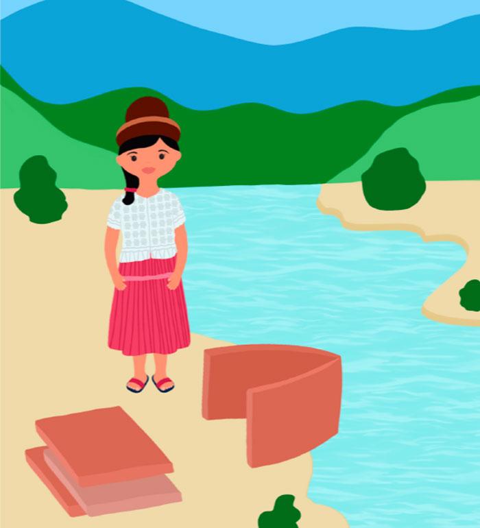 Ilustración Nina en el río