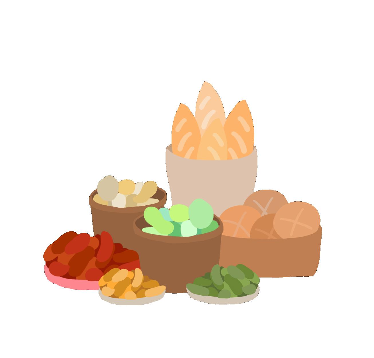 Ilustración cestas de comida