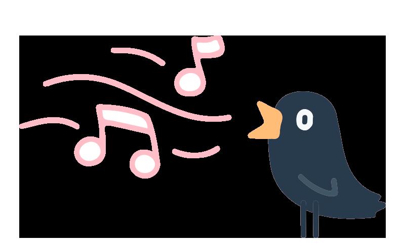 Ilustración pájaro cantando