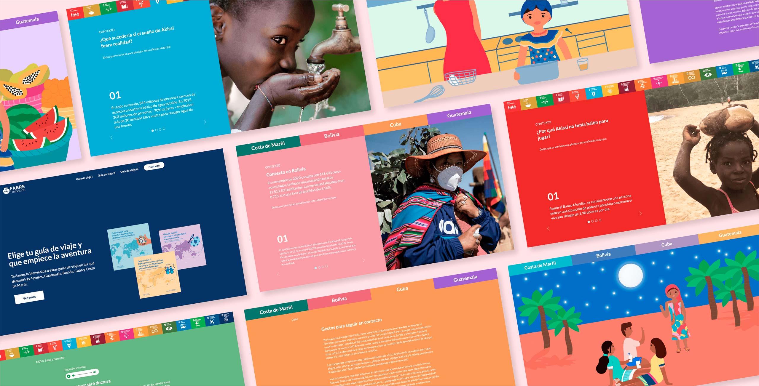 Imágenes de distintas secciones de la web