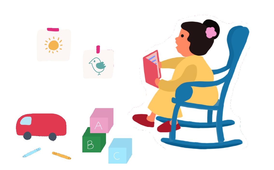 Ilustracion mujer leyendo cuento